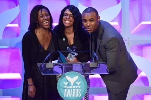 Marala Scott accepting The Shory Award for Best Parent